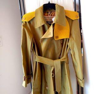 Burberry pip hurst green ochre trench coat sz 4